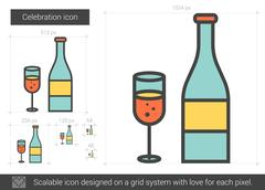 Celebration line icon Stock Illustration