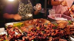 Thai Street Food sellers on night street 21 Stock Footage