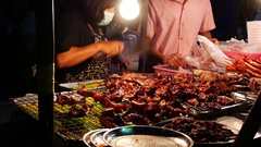 Thai Street Food sellers on night street 22 Stock Footage