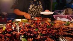 Thai Street Food sellers on night street 26 Stock Footage