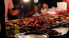 Thai Street Food sellers on night street 25 Stock Footage