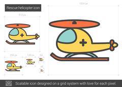 Rescue helicopter line icon Piirros