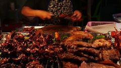 Thai Street Food sellers on night street 17 Stock Footage