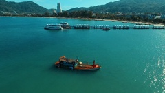 Aerial: Sunken ship near the Patong beach. Stock Footage