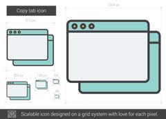 Copy tab line icon Stock Illustration
