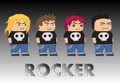 Rocker cartoon characters Stock Illustration