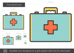 First aid kit line icon Stock Illustration