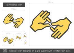 Palm hands line icon Stock Illustration