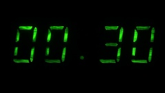 Digital countdown timer with an interval 30 seconds 00:30 - 00:00 digits green Stock Footage