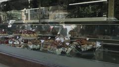 Shop window of an Italian pastry shop Stock Footage