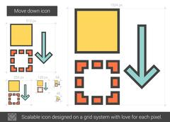 Move down line icon Stock Illustration