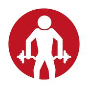 Silhouette man fitness dumbbell design Stock Illustration