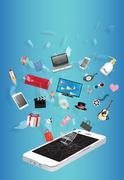 Shopping item over broken screen smart phone device Stock Illustration