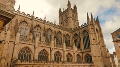 Panoramic view of the Gothic cathedral in Bath, UK Stock Footage