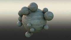 Abstract wooden balls that rotates around each other. Stock Footage