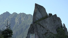 Sharp rock on Fagaras mountain, Romania Stock Footage