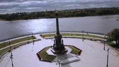 Aerial view Strelka Park Yaroslavl Russia Stock Footage