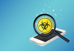 Smartphone device infected virus Stock Illustration