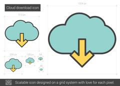 Cloud download line icon Stock Illustration