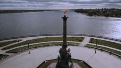 Park on the Strelka Yaroslavl, aerial shot Stock Footage