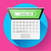 Open Laptop Top View Vector Flat Icon Piirros