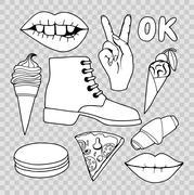 Cartoon patch badges Stock Illustration
