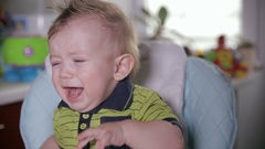 Naughty small baby child crying Stock Footage