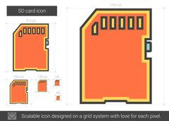 SD card line icon Stock Illustration