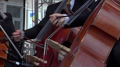 Musicians playing the violoncello in tandem Stock Footage