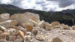 Blast limestone deposit in quarry Stock Footage