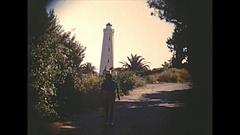 Vintage 16mm film, 1955 France, lighthouse, vignetted Stock Footage