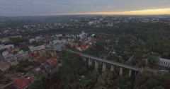 Camera flies back from the Bridge in Kamianets-Podilski Stock Footage