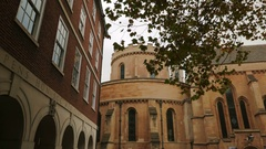 POV approach to the apse of the Temple Church in London, UK Stock Footage