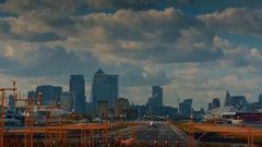 London City Airport - Wide angle shot of a commercial airliner taking on a sunny Stock Footage