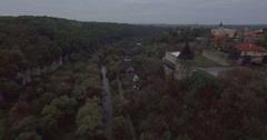 Drone flies towards tower in Kamianets-Podilski Ukraine Stock Footage