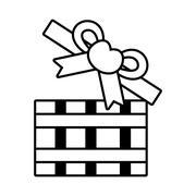 Pictogram open gift box bow heart design Stock Illustration