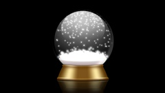 Snowglobe animation with falling snow on a black background Stock Footage