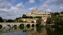 Cathedral Saint Nazaire in Beziers Stock Footage