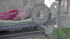 Doll in an incubator for premature babies Stock Footage