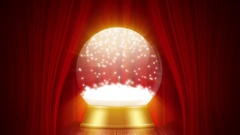 Snowglobe animation with falling snow on a red stage Stock Footage