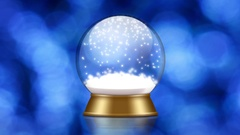 Snowglobe animation with falling snow on a blue background Stock Footage