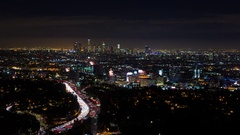 Los Angeles and Hollywood at Night Timelapse Stock Footage
