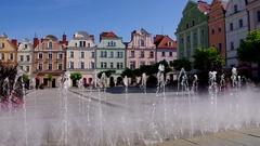 Boleslawiec, Old Market Bunzlau in Silesia Stock Footage