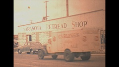 Vintage 16mm film, 1946 Sarasota Retread Shop, get your tires fixed Stock Footage