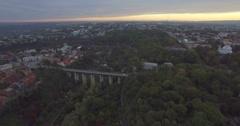 Camera flies towards the Bridge in Kamianets-Podilski Stock Footage