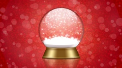 Snowglobe animation with falling snow on a red background Stock Footage