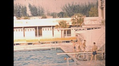 Vintage 16mm film, 1946 Sarasota pool, dive board, water polo Stock Footage