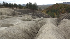 Dry ground and green trees, mud volcanoes  Stock Footage