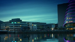 4k Dublin on Dusk, Dolly Shot from Convention Centre to Samuel Beckett Bridge Stock Footage
