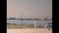Vintage 16mm film, 1946 Sarasota cars, people, fishing, shoreline b-roll Stock Footage